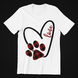 Paw Print Love Graphic Design T-Shirt